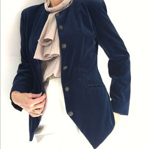 Midnight Blue Outlander Velvet Blazer Jacket